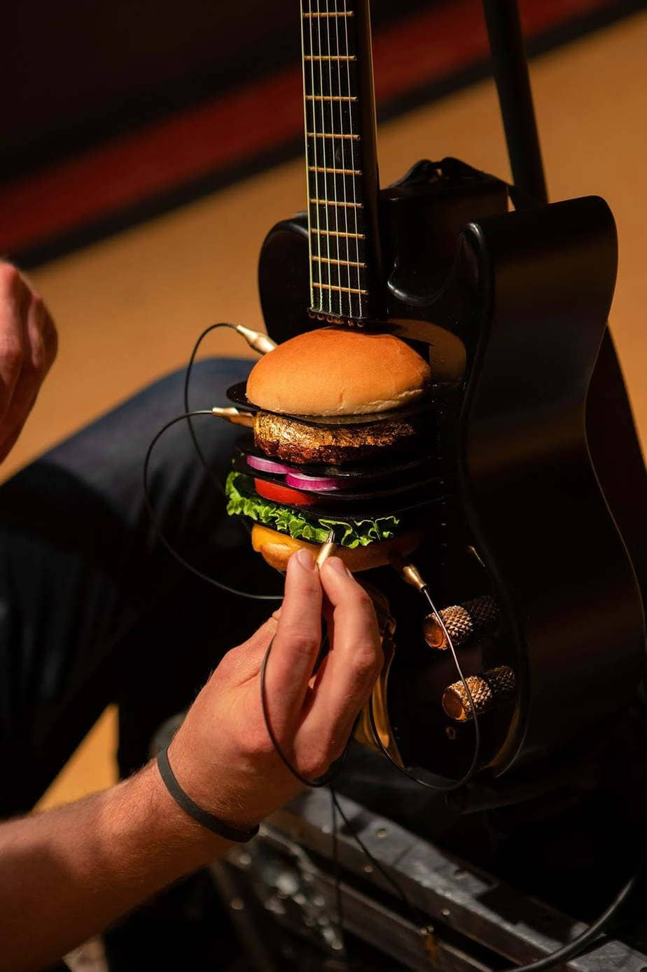 burger powered unconventional musical instrument