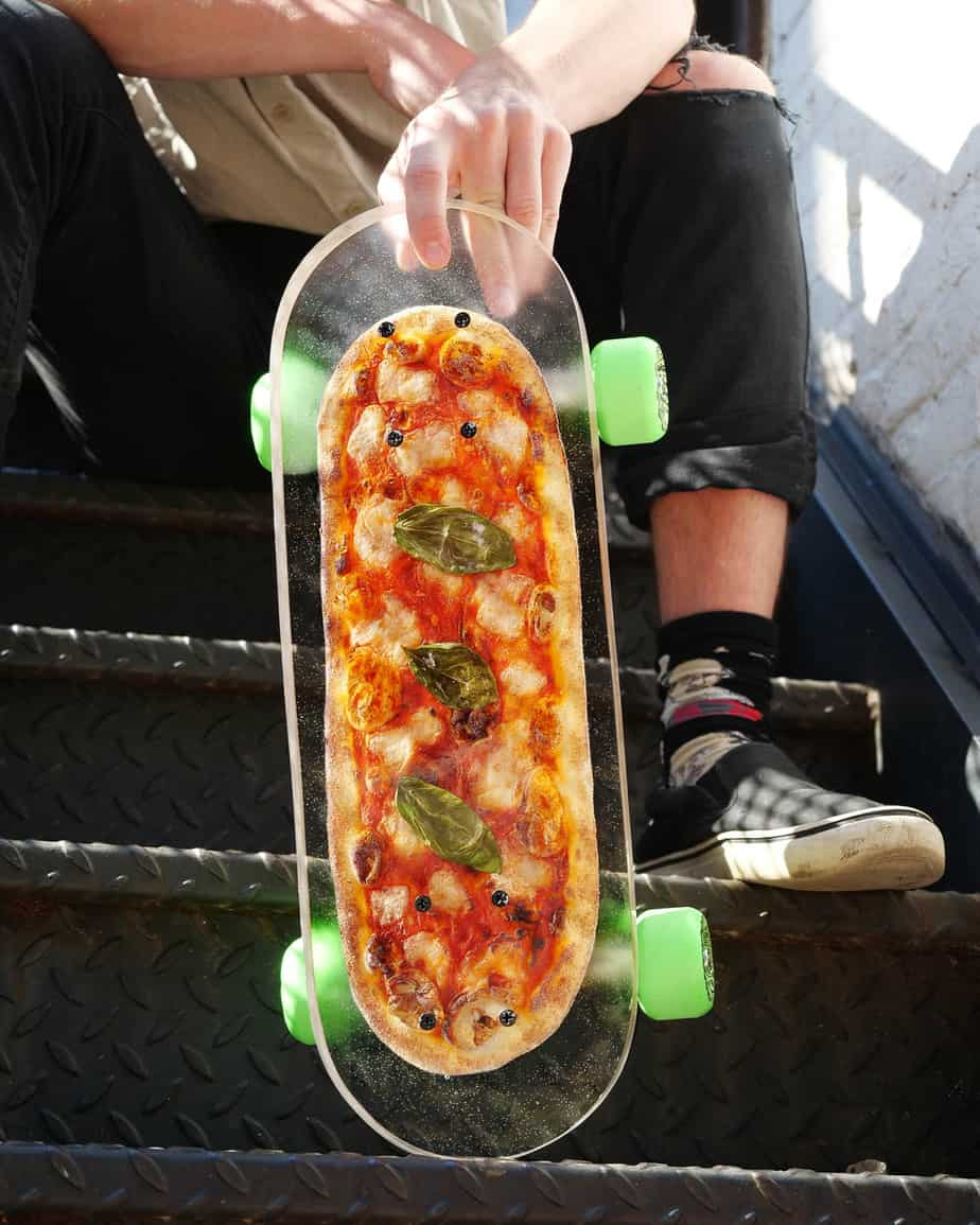 skateboard with real pizza inside